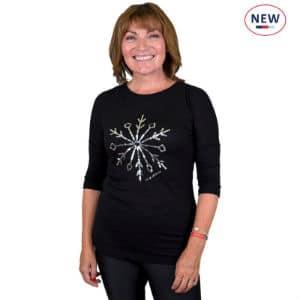Black Snow Crystal Sequin T-shirt