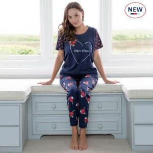Navy Floral Rose Pyjama Set
