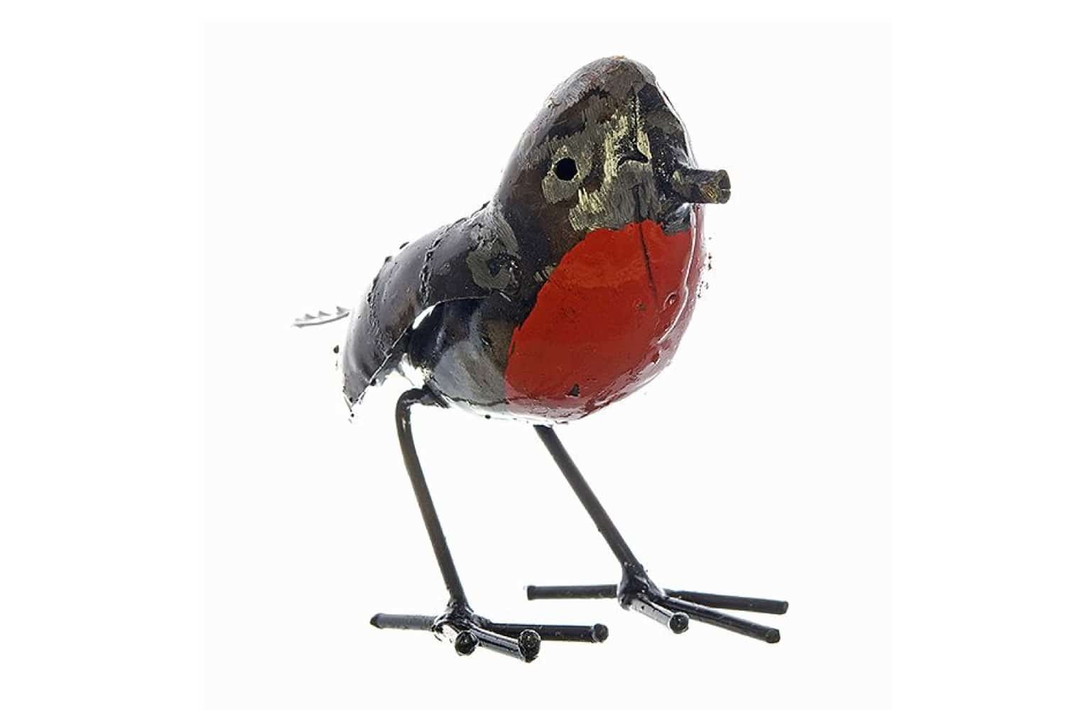 Recycled Metal Robin Sculpture