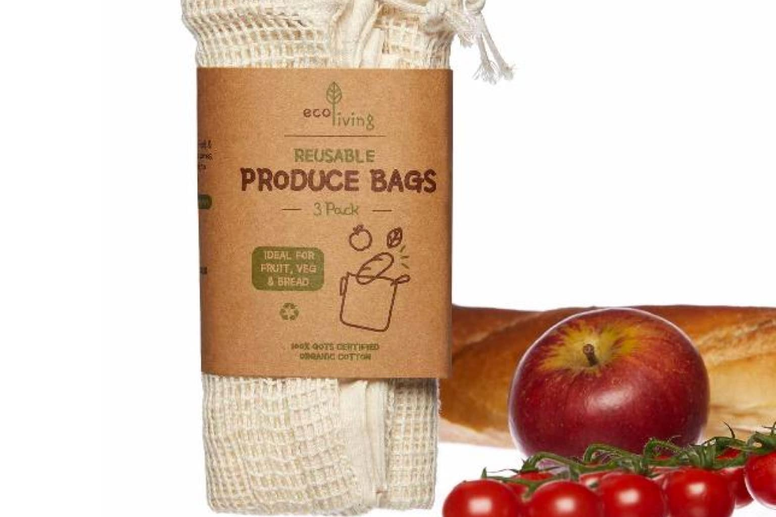 Organic Produce & Bread Bags – 3 Pack