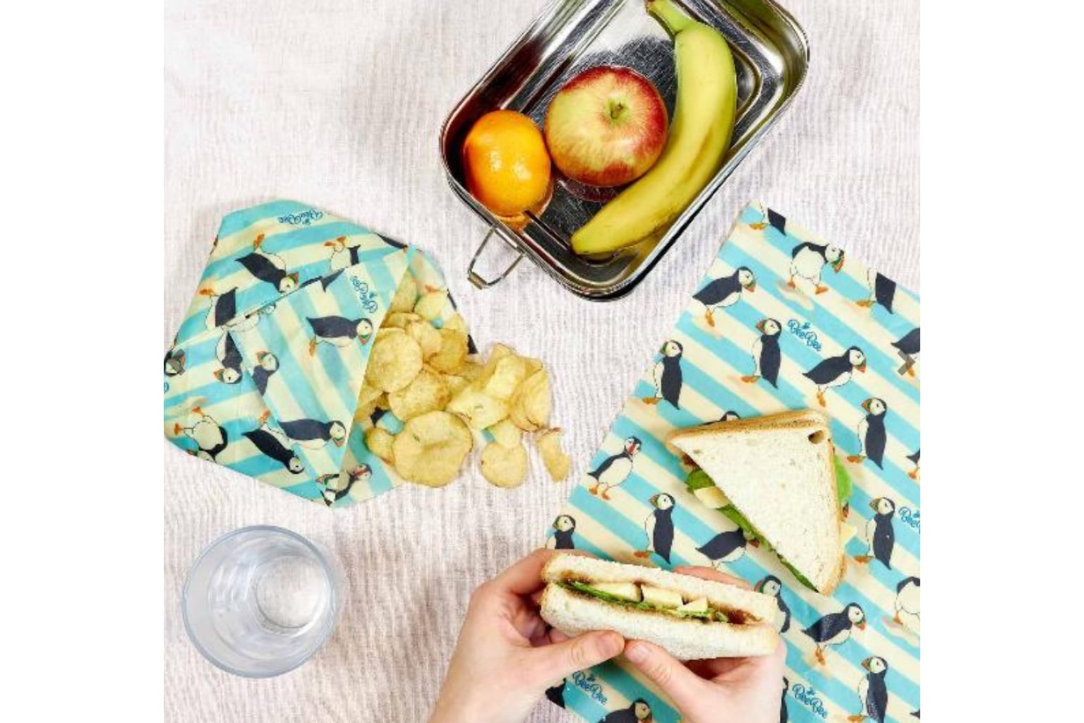 Beeswax Food Wrap with Puffin Motif