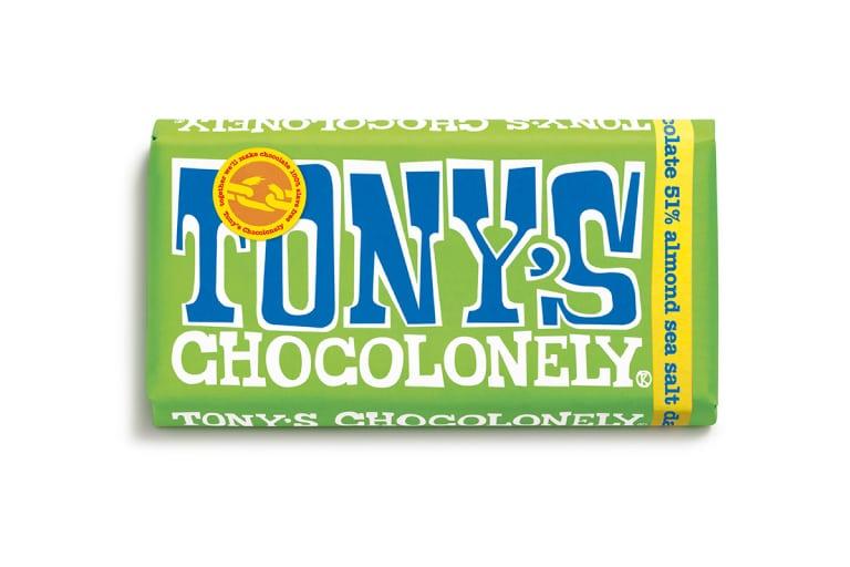 Tony Chocolonely Dark Chocolate, Almond and Sea Salt Bar