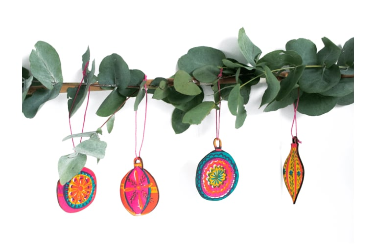 Hand Screen Printed Bauble Decorations