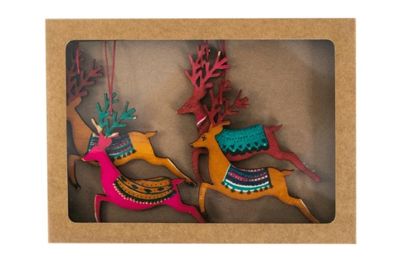 Hand Screen Printed Reindeer Decorations